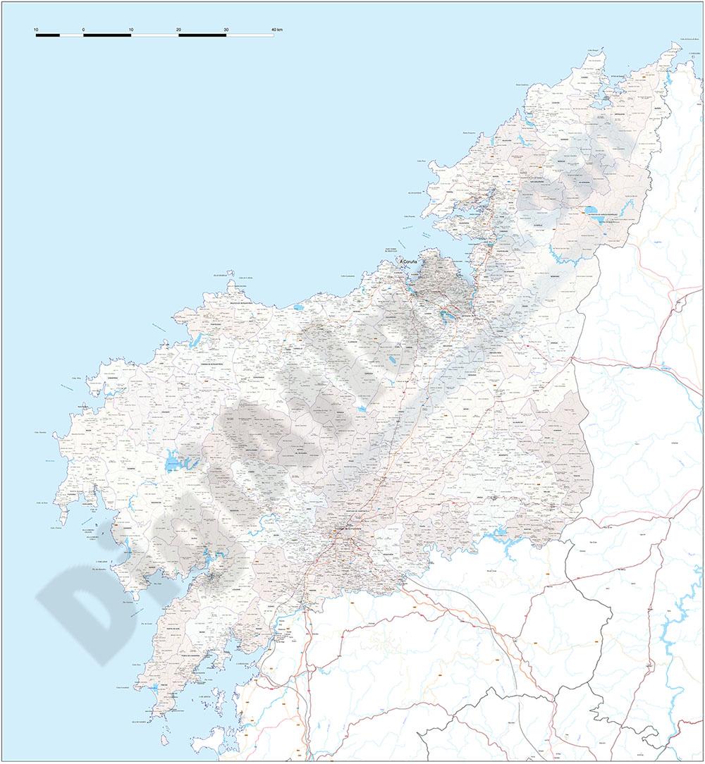 A Coruña - Mapa de la provincia con parroquias y aldeas