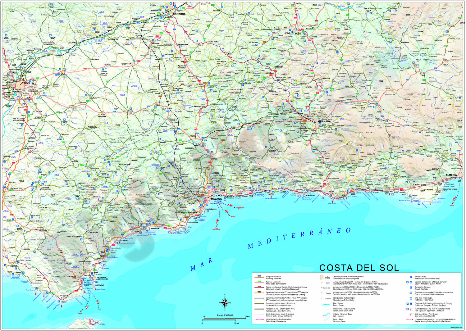 Costa del Sol political and geographical map