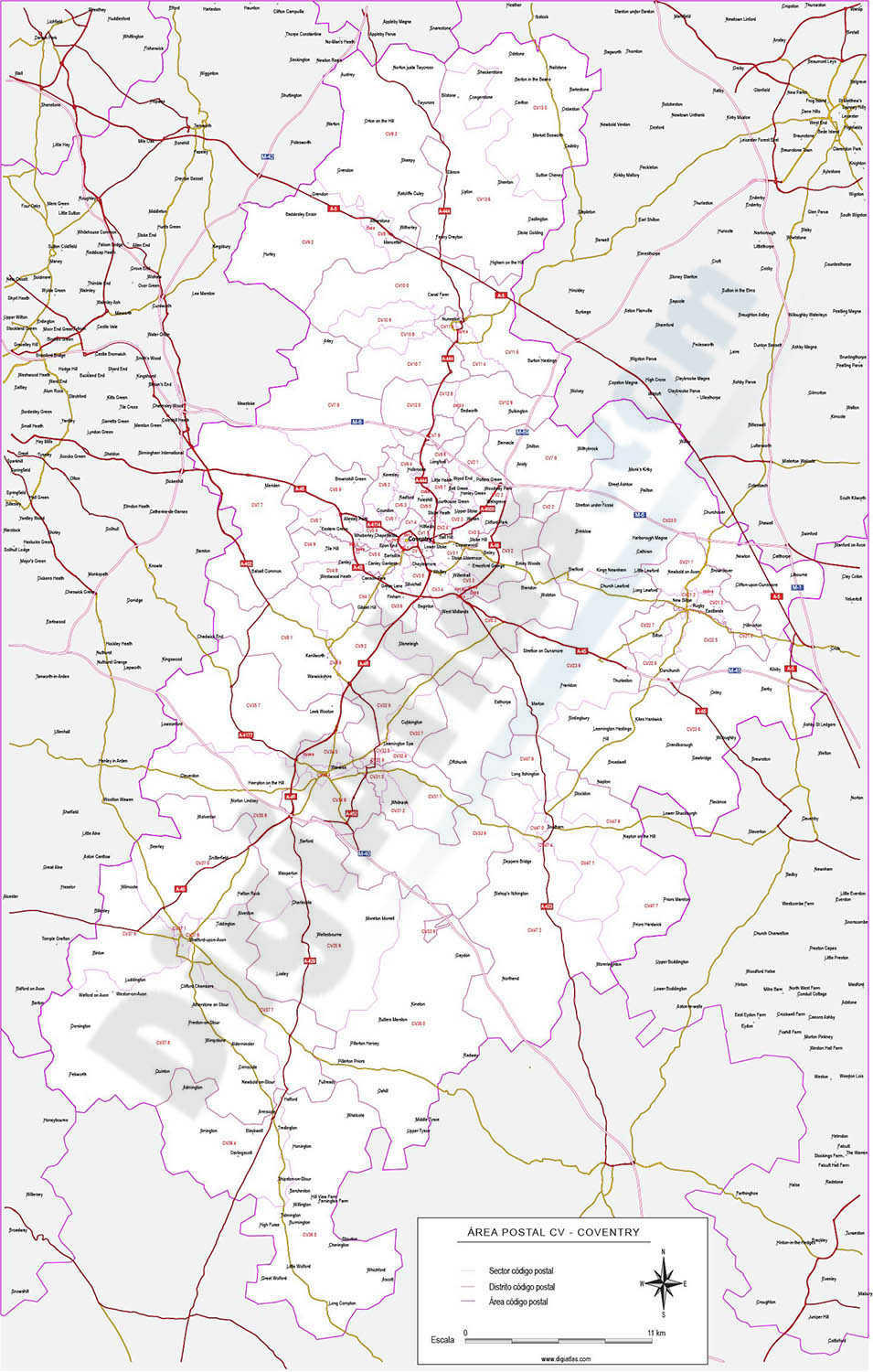 Coventry - map of postcode area (CV) with cities and major roads