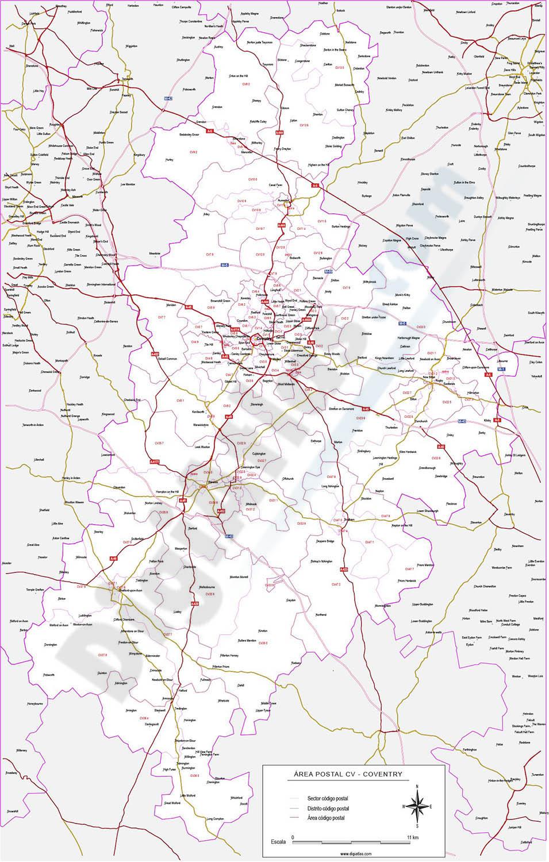 Coventry - mapa de códigos postales y carreteras