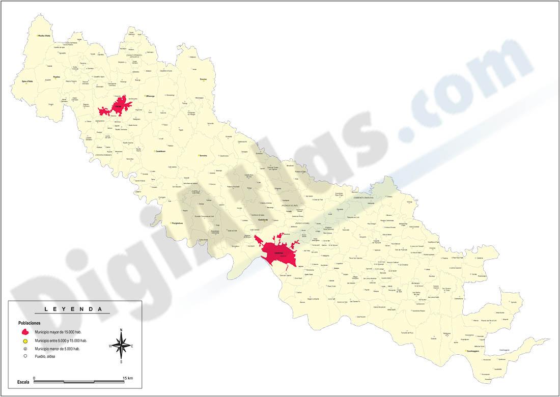 Provincia de Cremona con municipios y poblaciones