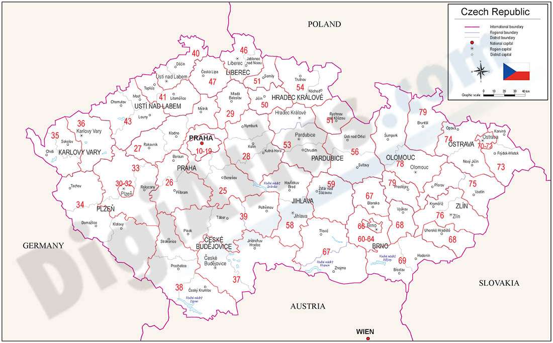 Map of Czech Republic with regions and Postal Codes