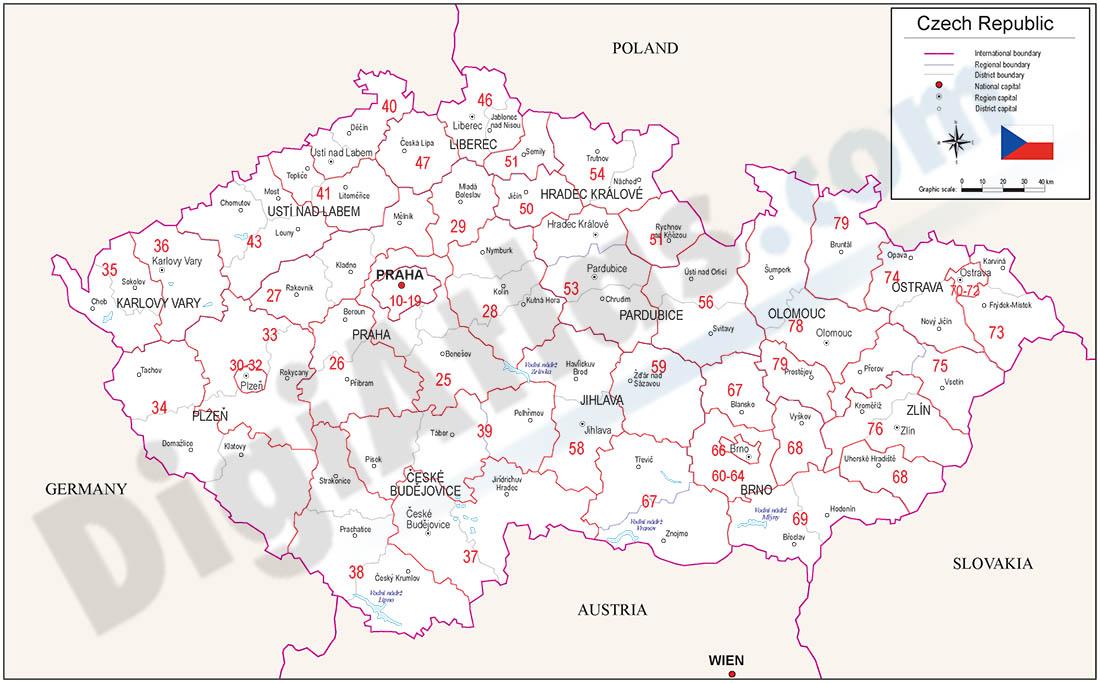 Mapa de la República Checa con regiones y codigos postales