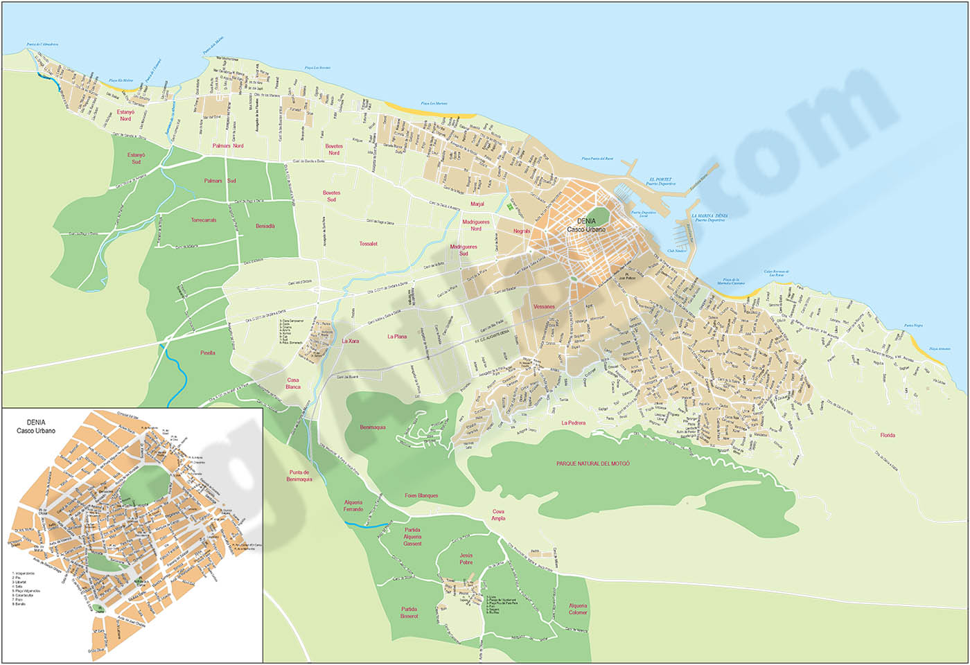 Denia (province of Alicante) - city map