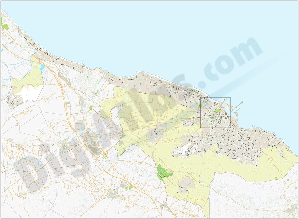 Denia - city and beaches map