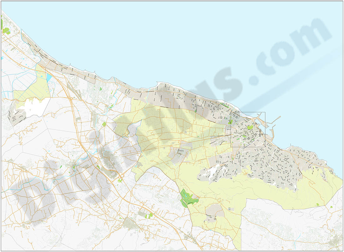 Denia - city and beaches map