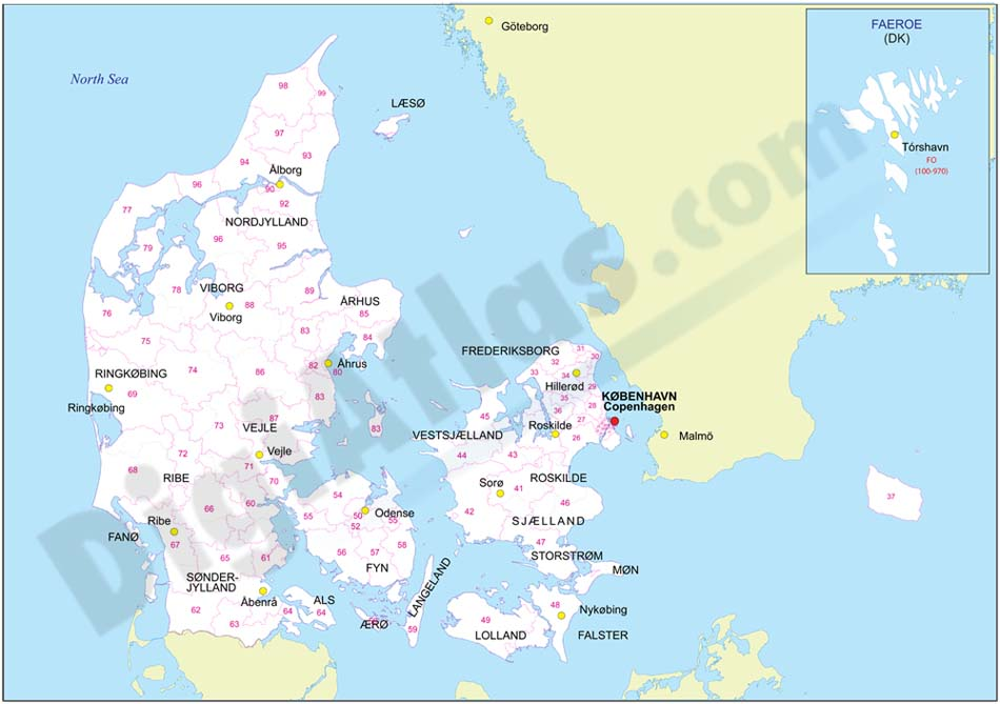 Mapa de Dinamarca con regiones y codigos postales