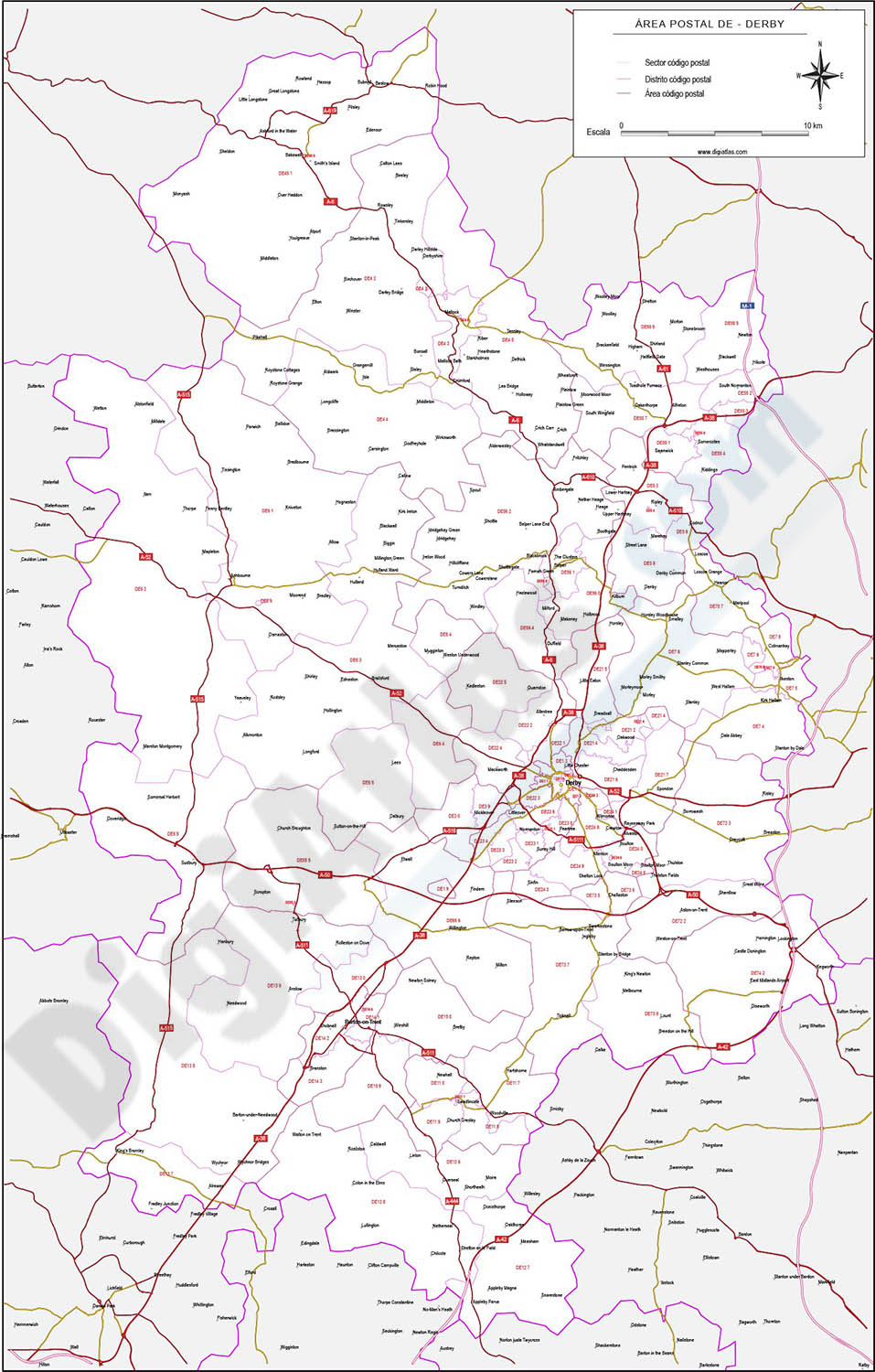 Derby - map of postcode area (DE) with cities and major roads