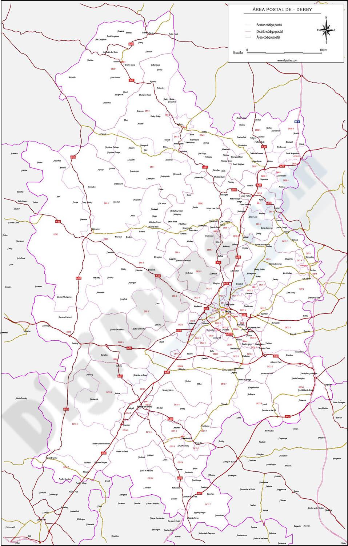 Derby - mapa de códigos postales y carreteras
