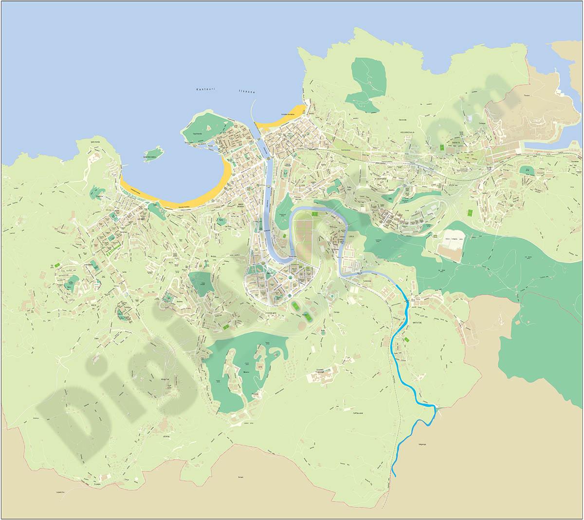 Donostia (Basque Country) city map