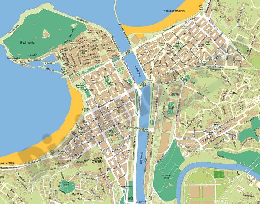 Donostia basque country city map