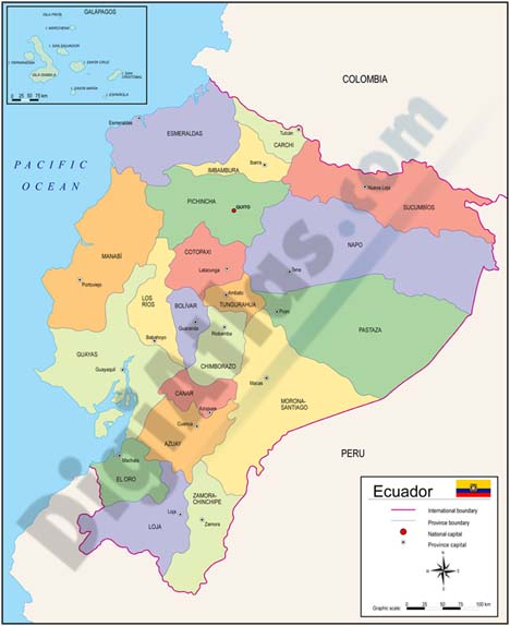 Ecuador Vector Map Map of Ecuador