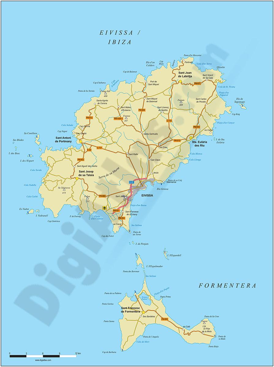 Map of Ibiza-Eivissa island (Balearic Islands)