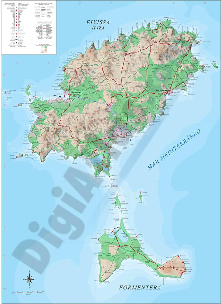 Mapa turístico de la Isla de Ibiza-Eivissa