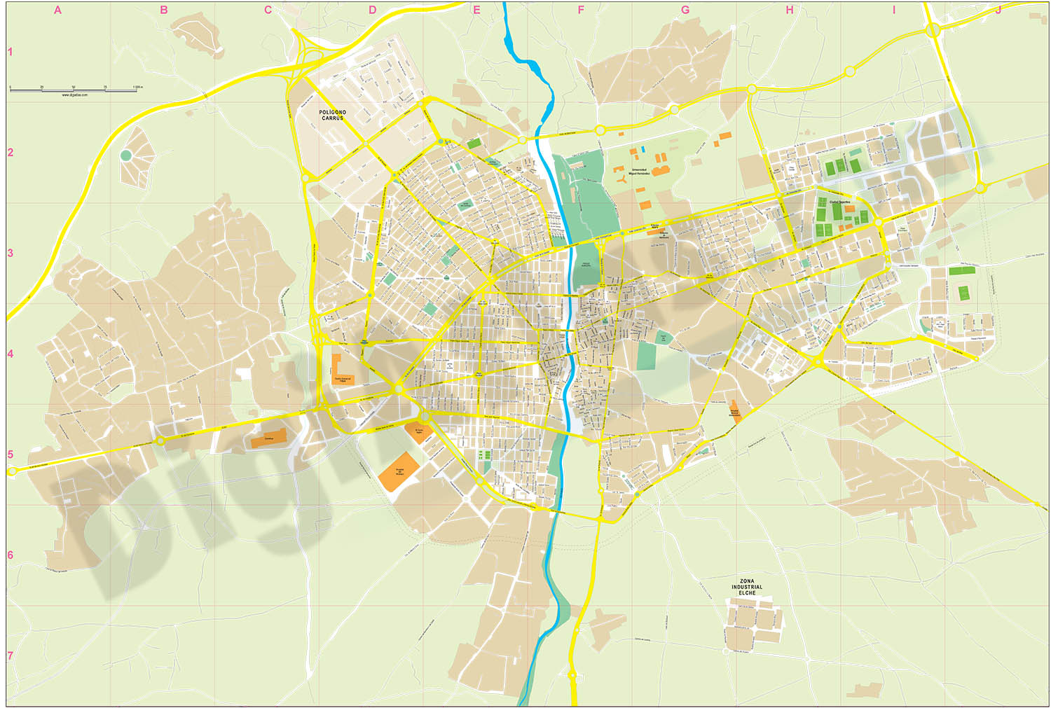 Elche (province of Alicante) city map
