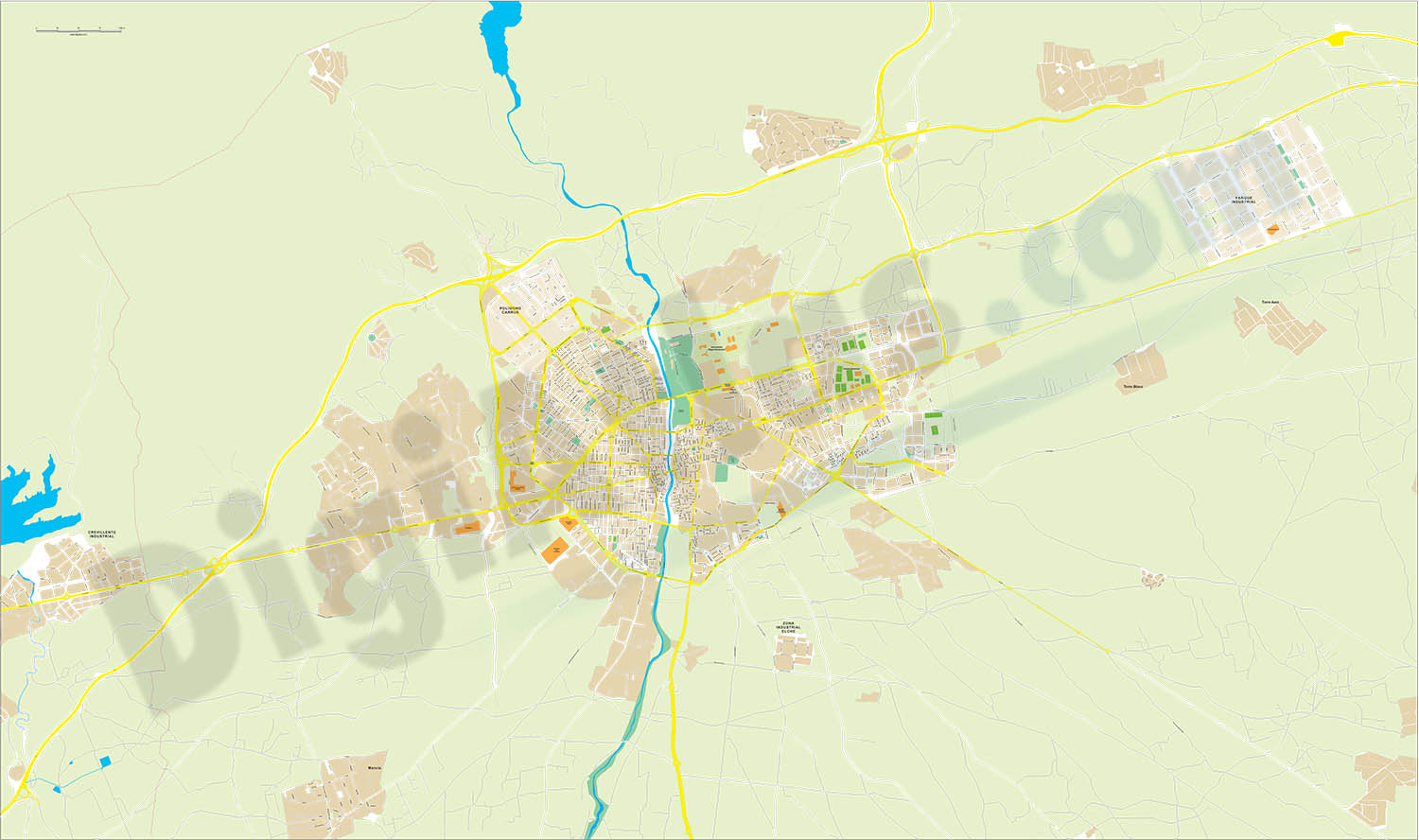 Elche-elx - city map and Industrial Estate