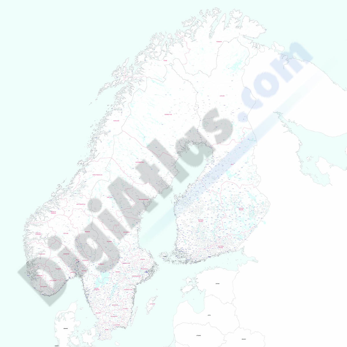 Finland, Norway and Sweden - city map