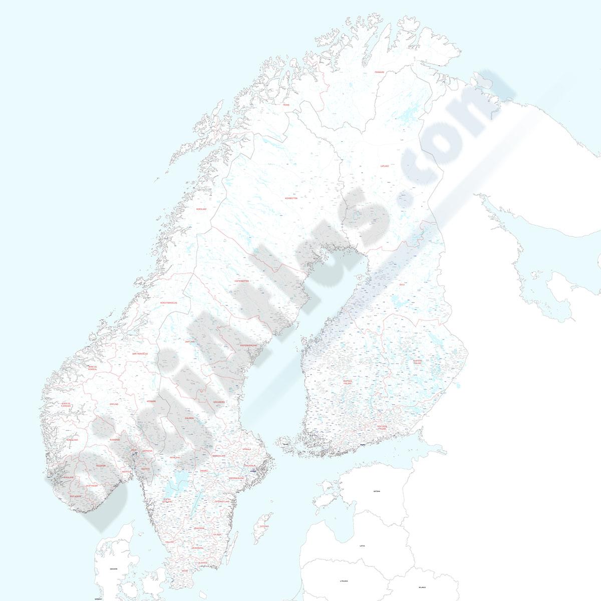 Finlandia, Noruega y Suecia - Mapa de poblaciones