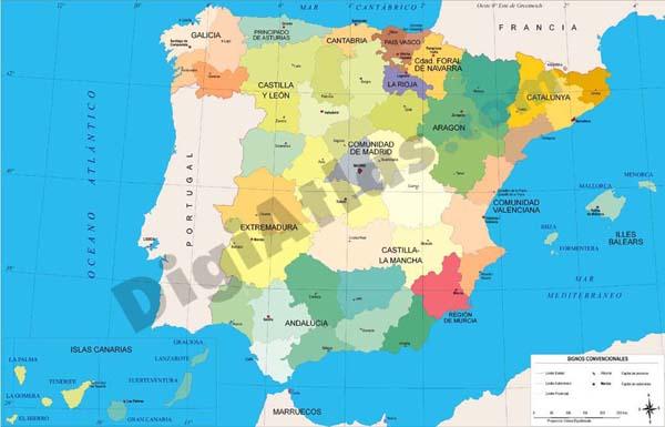 Spain map Autonomous Communities and provinces.
