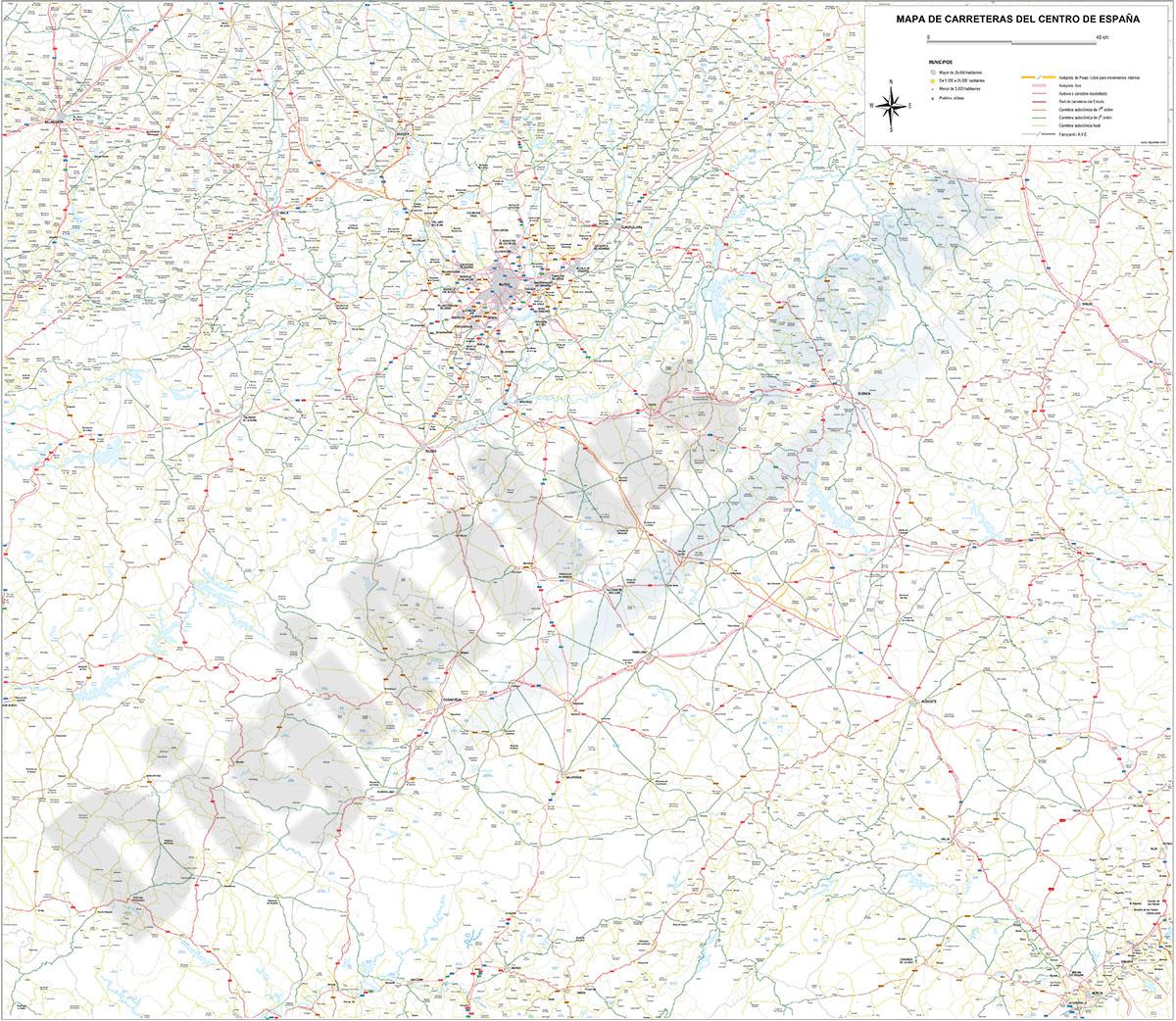 Mapa de carreteras y poblaciones del Centro de España