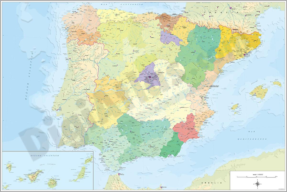 Mapa de España en Relieve