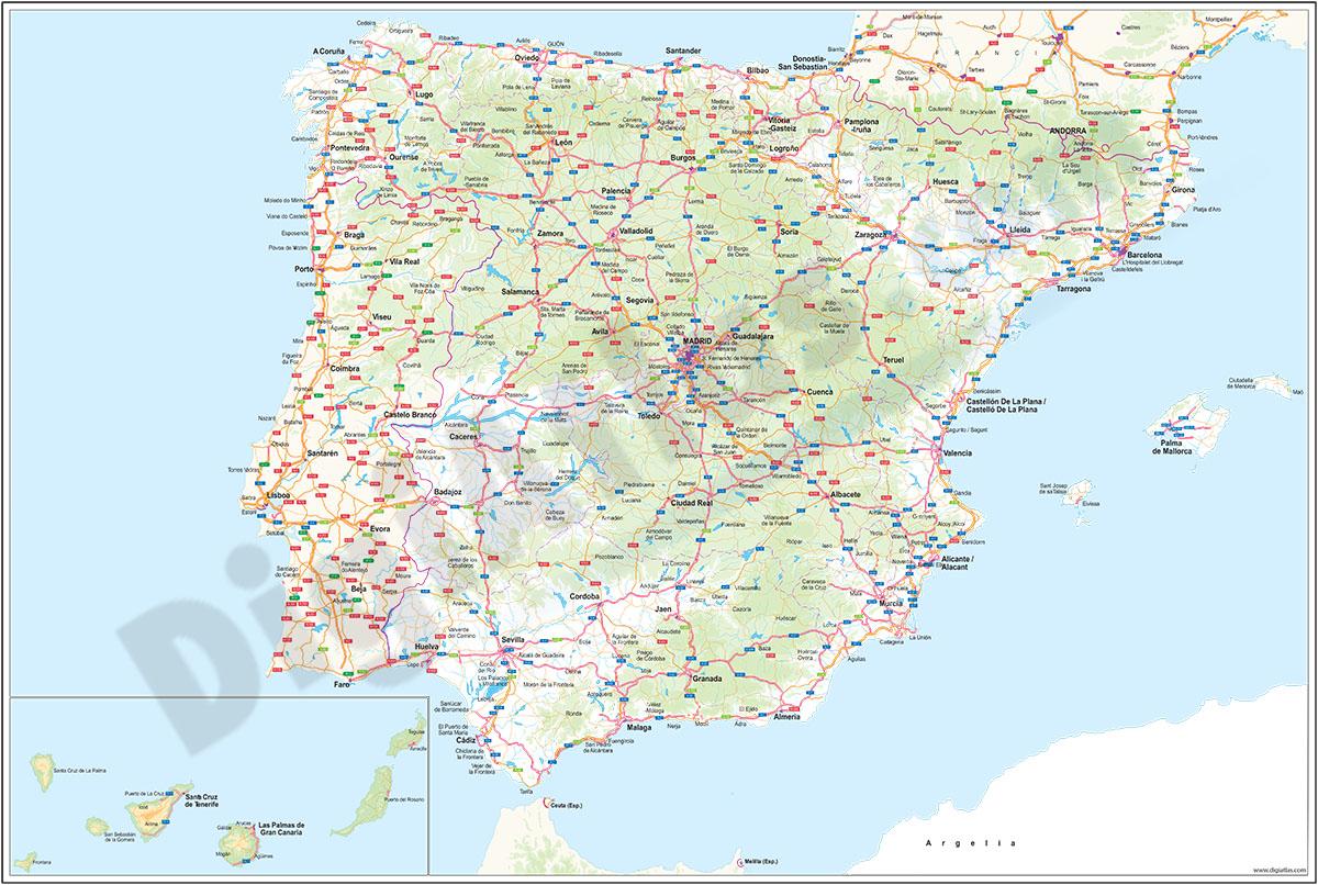 Mapa general de carreteras de España y Portugal
