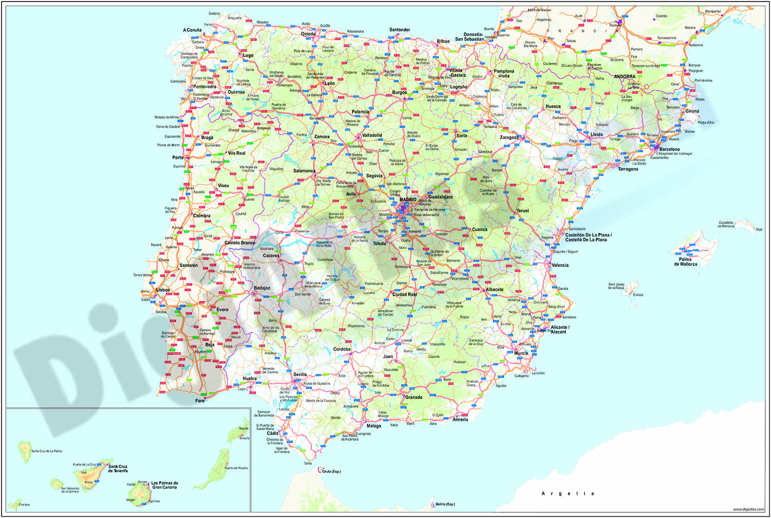 Major roads map of Spain and Portugal