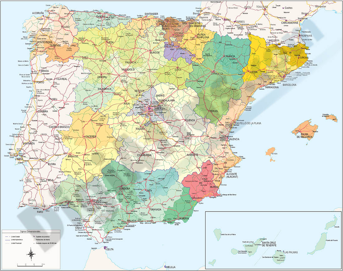 Map of Spain and Portugal DIN A3
