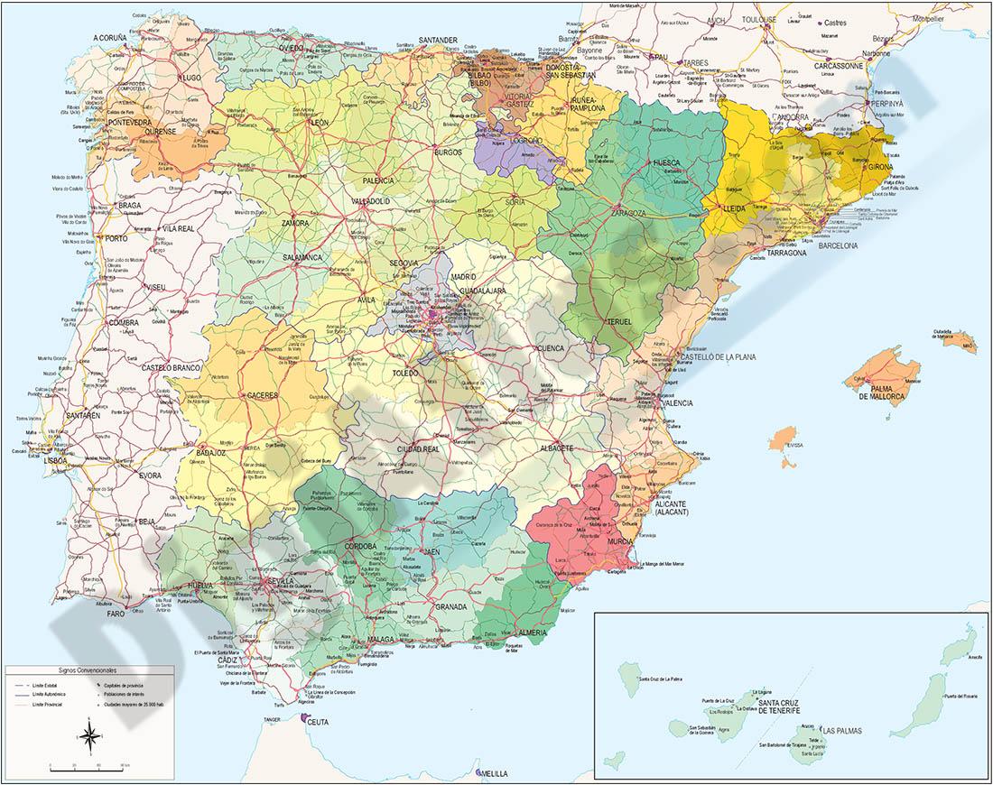 Mapa de España y Portugal ajustado a DIN A3