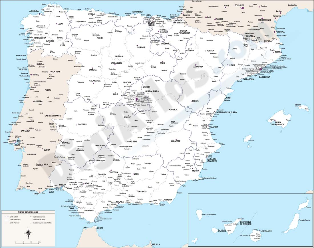 Map of Spain with cities over 25,000 citizens