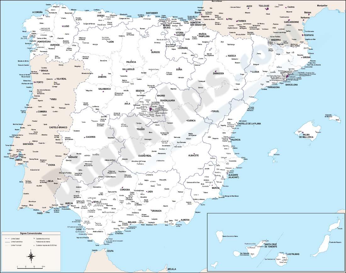 Mapa de España con ciudades de más de 25.000
