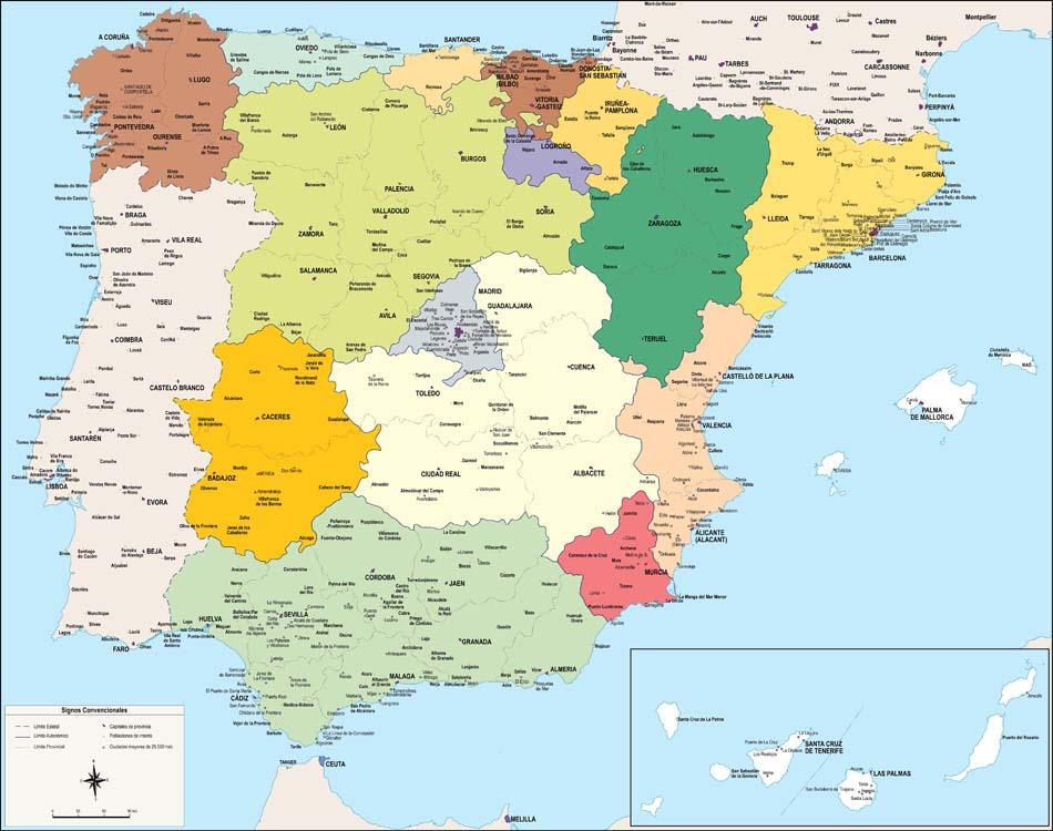 Mapa De España Y Sus Ciudades | Marketingfinest