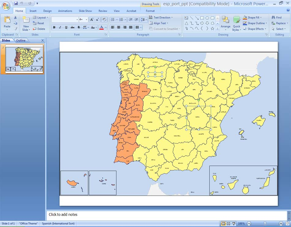 España Y Portugal Mapa.Spain And Portugal Provinces For Ppt