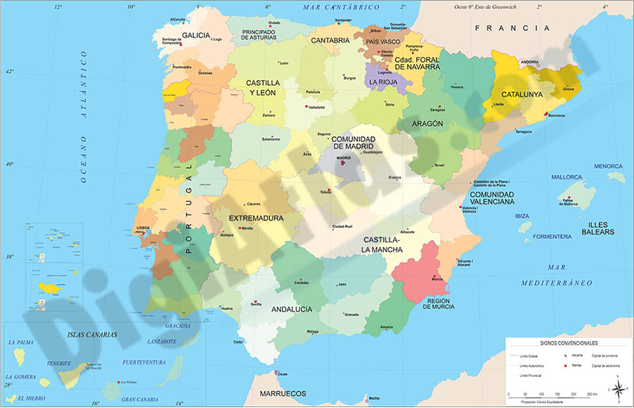 Map of Spain and Portugal with communities and provinces
