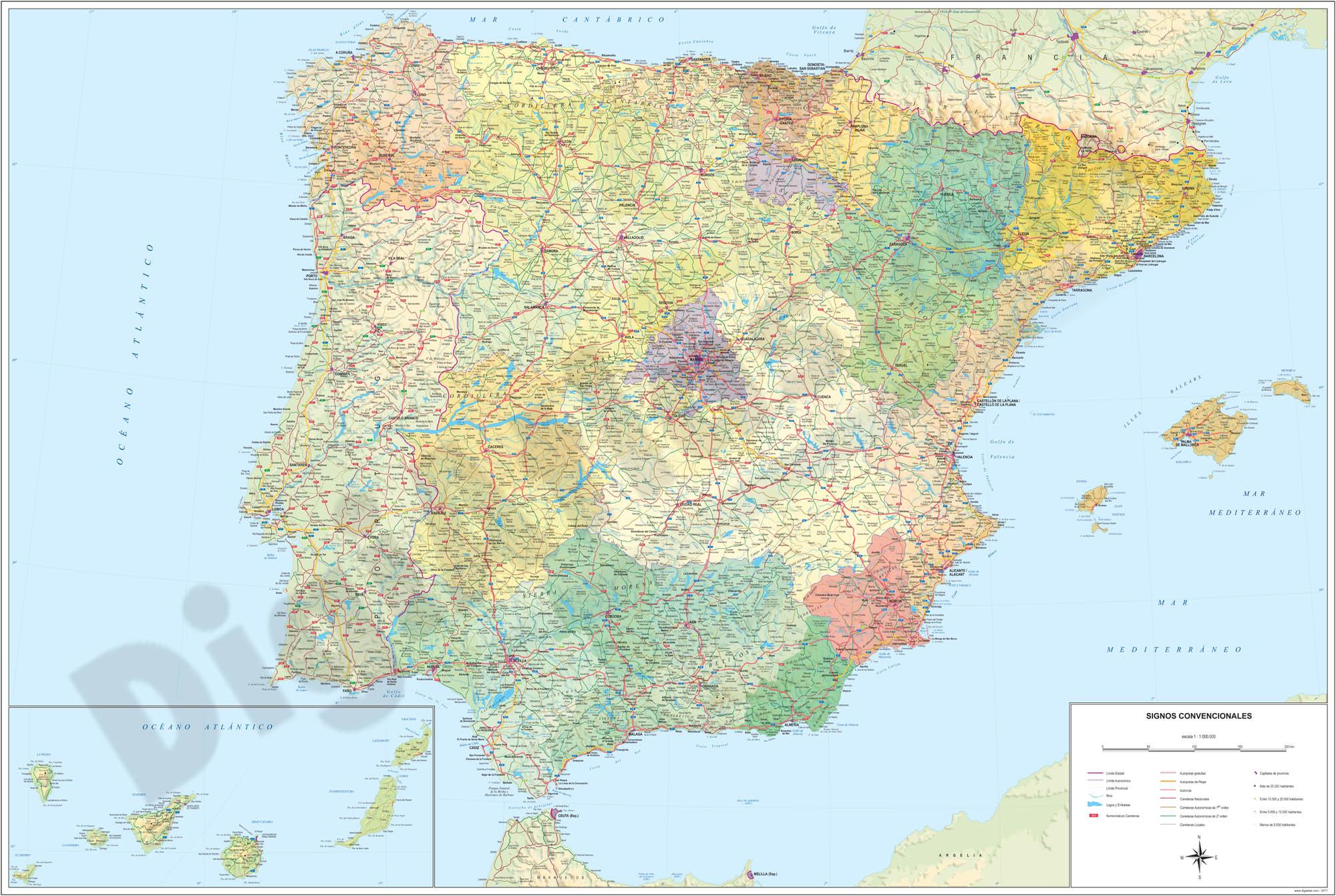 Mapa de España Politico-Relieve Poster