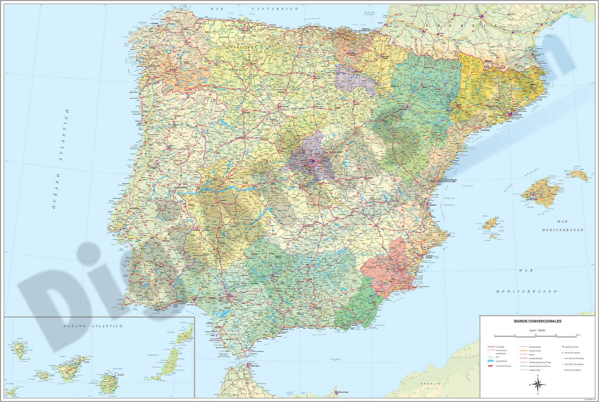 Spain political-relief poster map