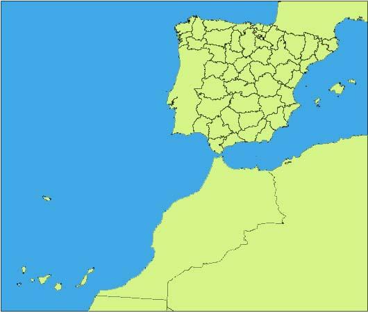 Mapa de España con provincias y ciudades de más de 10000 habitantes