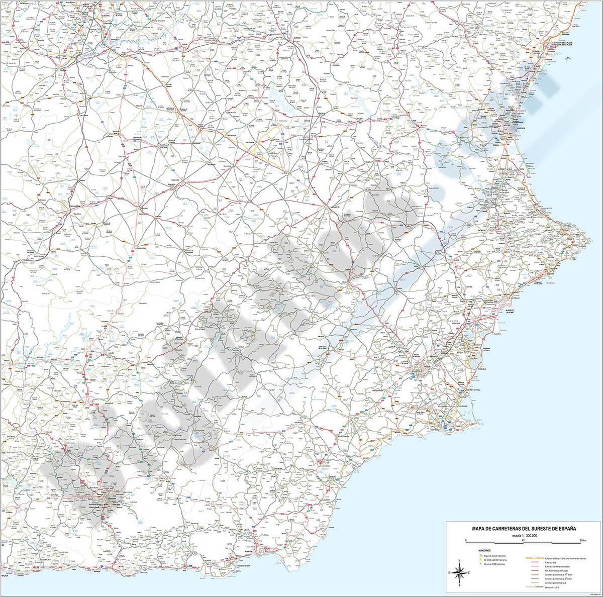 Mapa de carreteras y poblaciones del Sureste de España