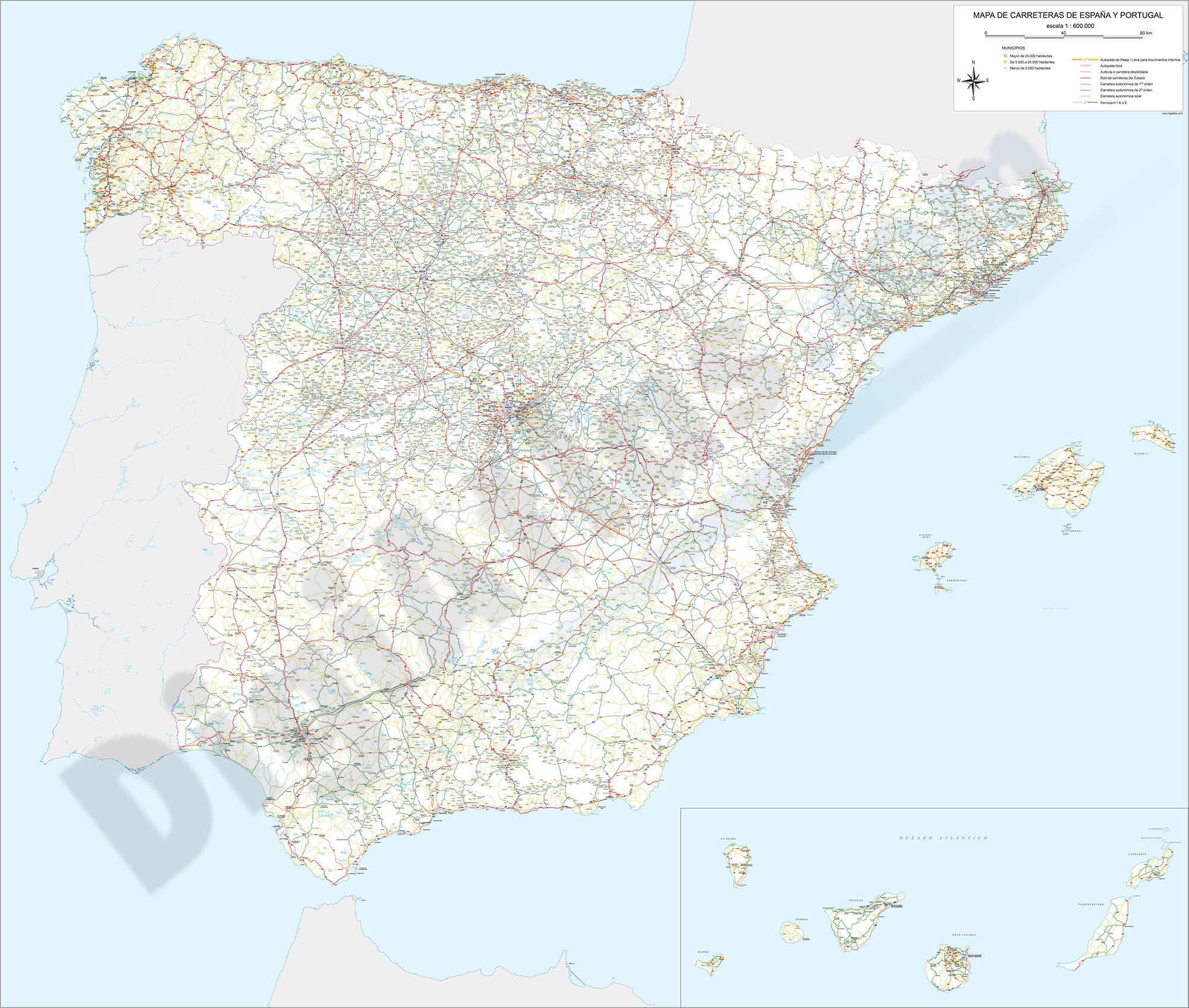 Detailed roads and cities map of Spain