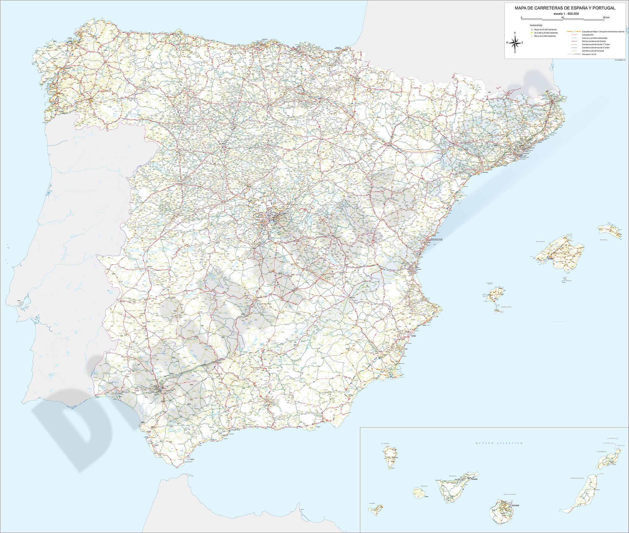 Mapa de carreteras y poblaciones de España
