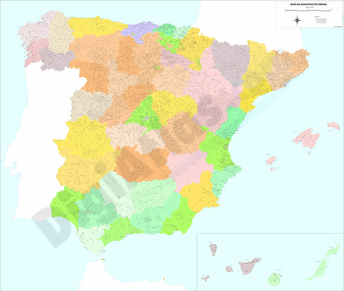 Mapa de España con municipios