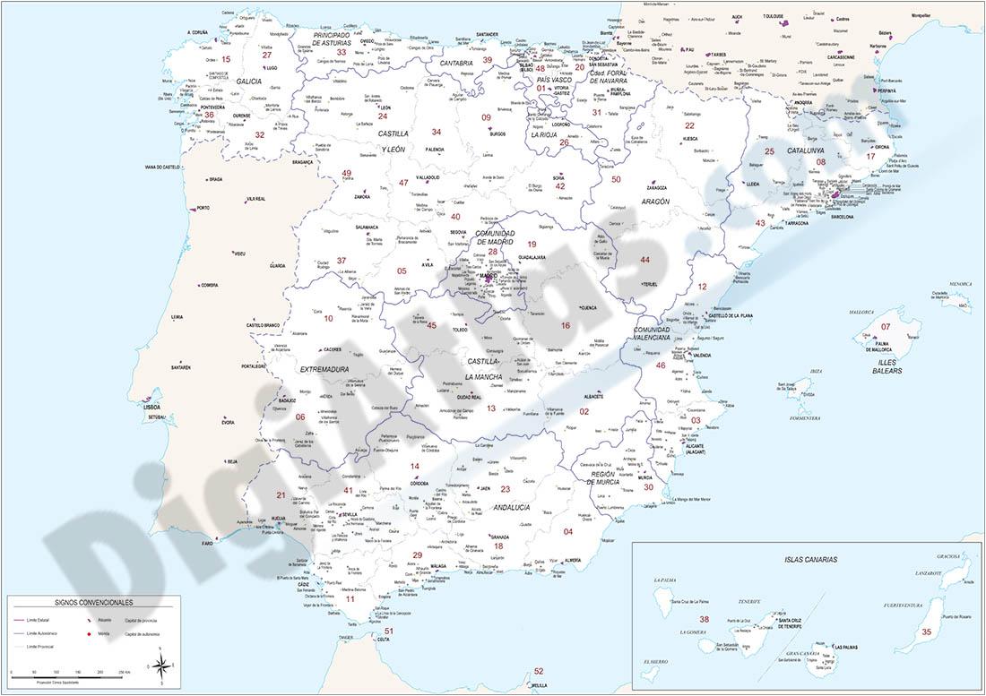 Map of Spain with autonomous communities, provinces and 2-digit postal code