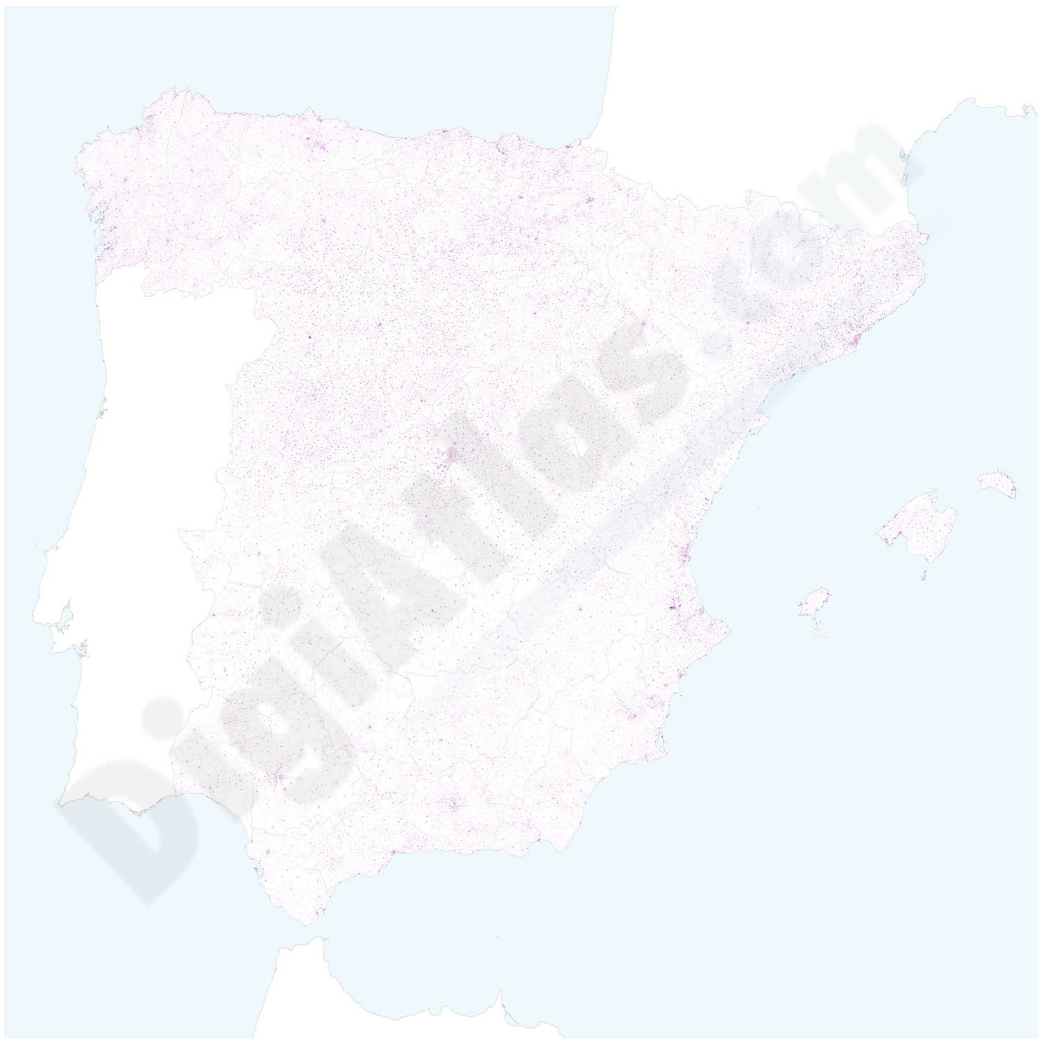 Map of Spain with all 5 digit postal codes