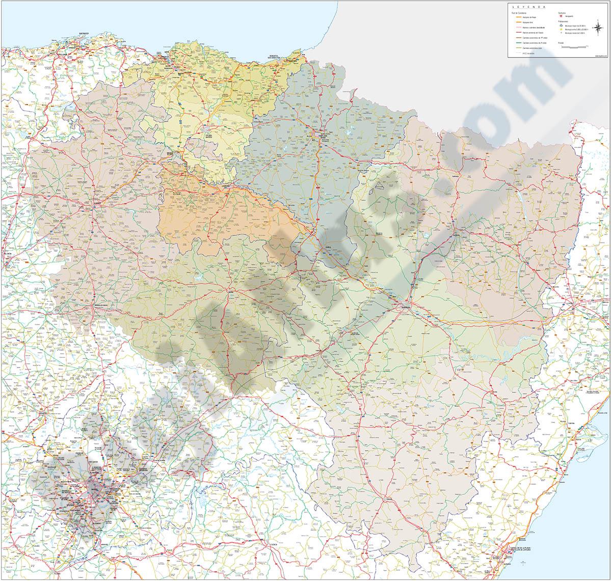 Mapa del Pais Vasco, Navarra, La Rioja, Burgos, Soria y Aragón