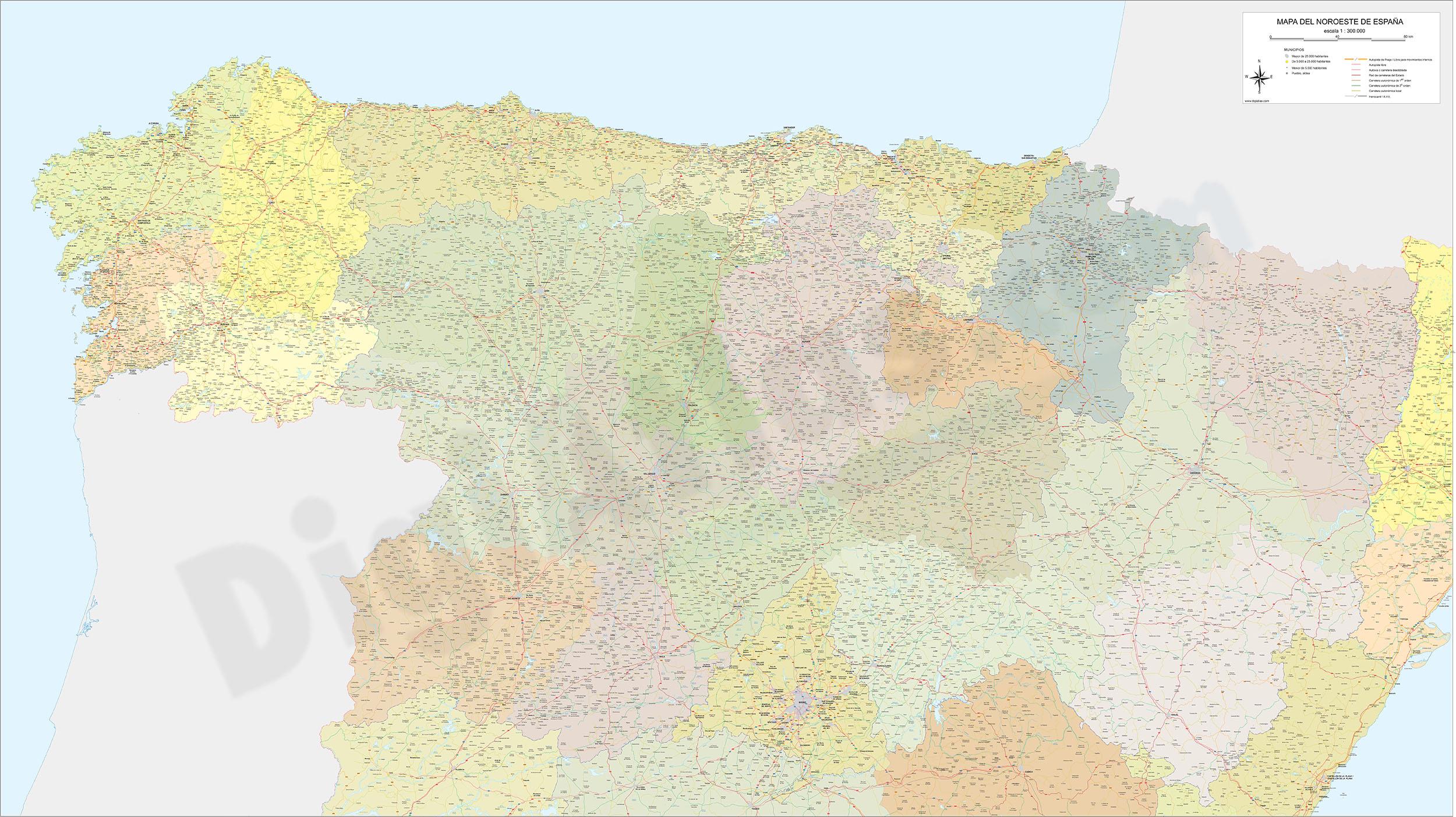 Mapa de carreteras y poblaciones del Noroeste de España