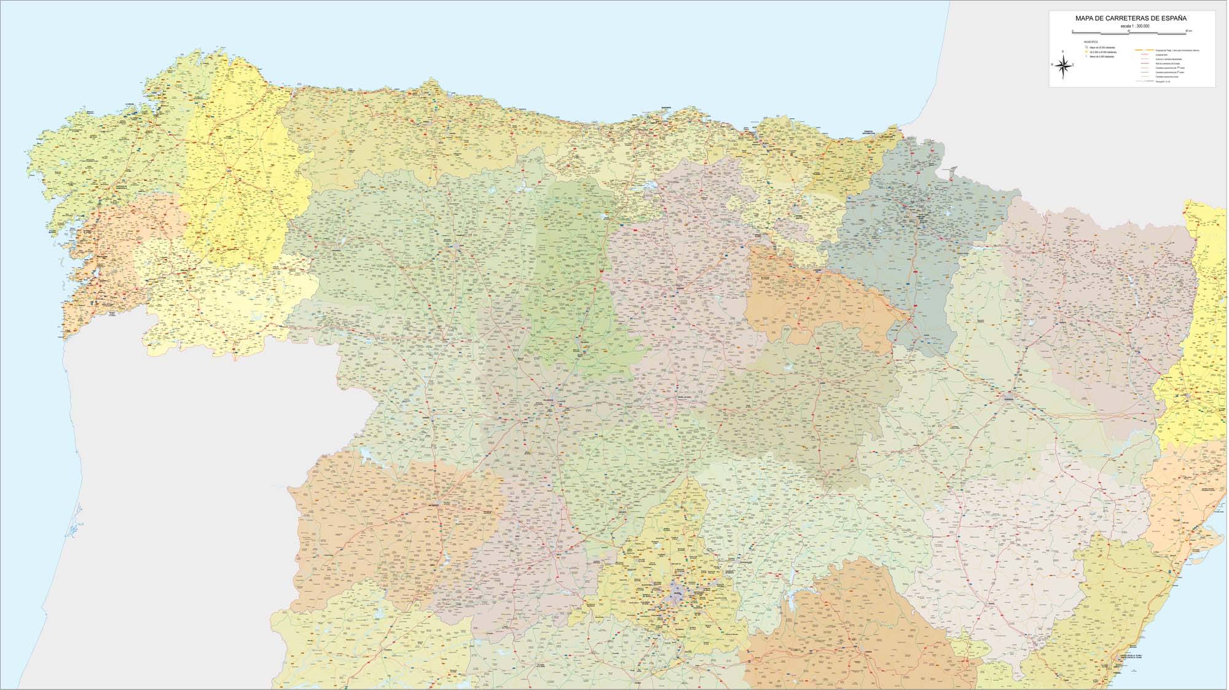 Roadmap of northwestern Spain
