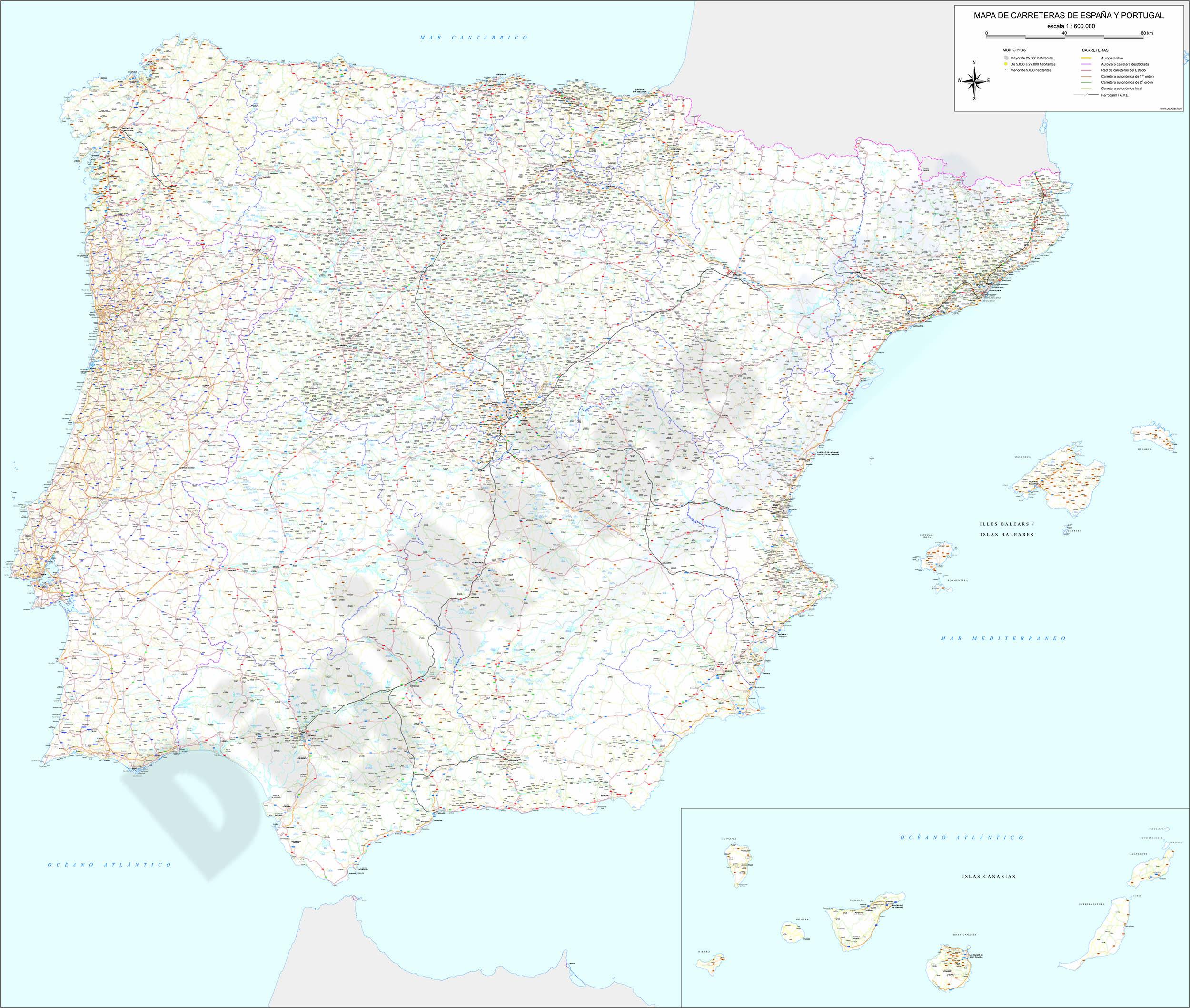 Mapa detallado de carreteras de España y Portugal