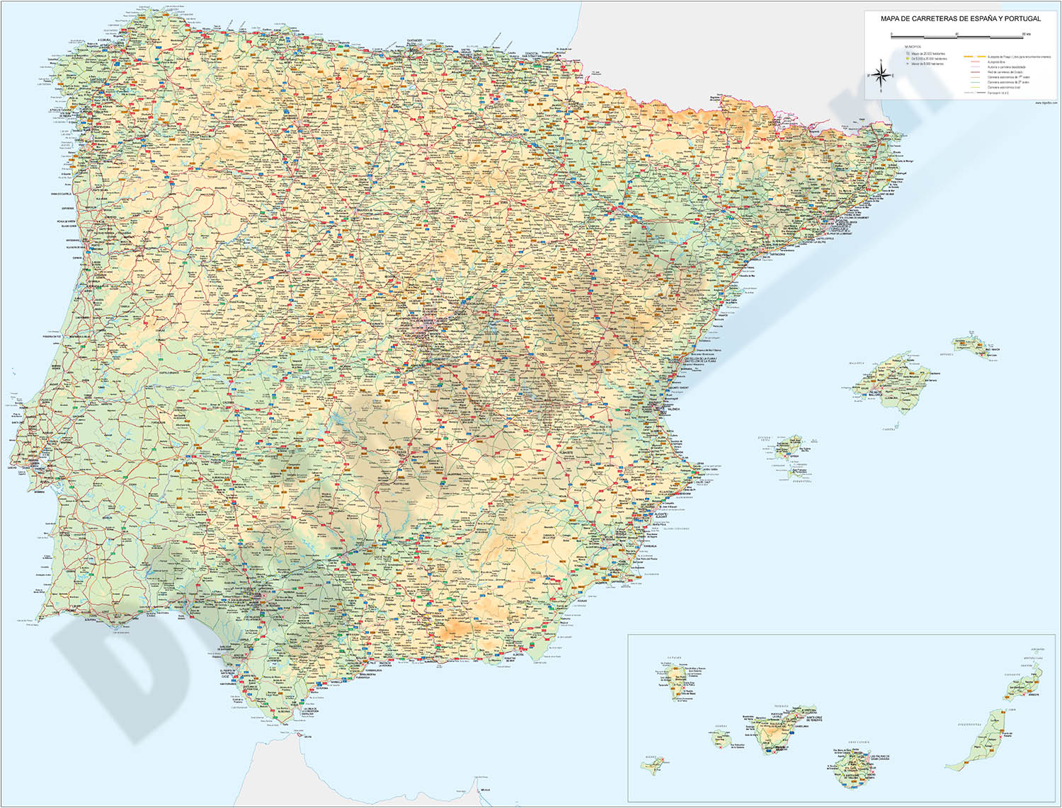 Map of Spain 100x70 cm