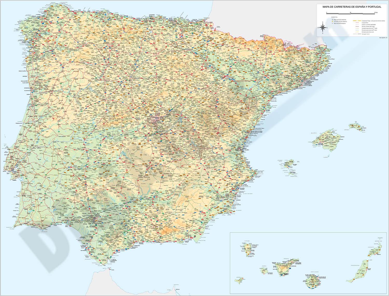 Mapa de España y portugal 100x70 cm