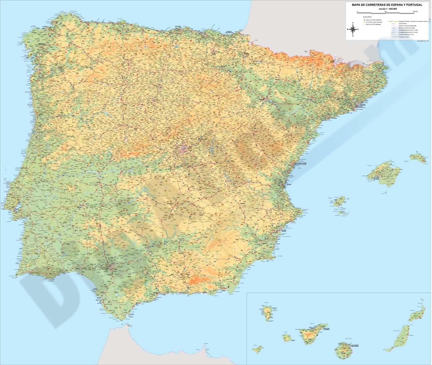 mapa de portugal com escala para imprimir Mapa de carreteras de España y Portugal mapa de portugal com escala para imprimir